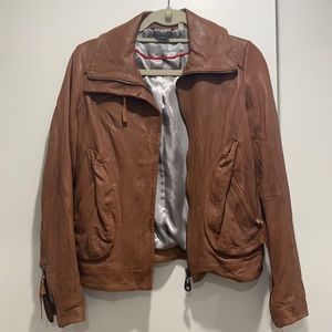 Doma Camel Leather Jacket Size Small